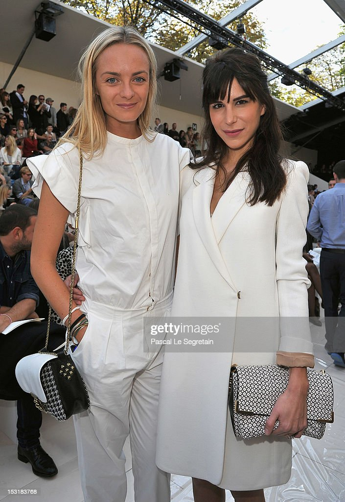 Virginie Courtin-Clarins (L) and <a gi-track='captionPersonalityLinkClicked' href=/galleries/search?phrase=Caroline+Sieber&family=editorial&specificpeople=3364626 ng-click='$event.stopPropagation()'>Caroline Sieber</a> attends the Chloe Spring / Summer 2013 show as part of Paris Fashion Week at Espace Ephemere Tuileries on October 1, 2012 in Paris, France.