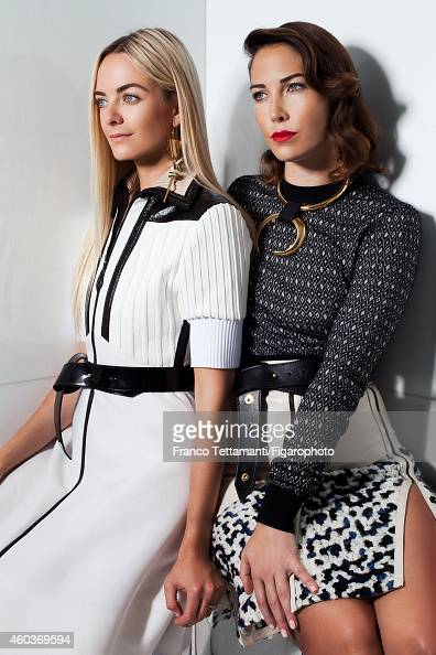 Virginie CourtinClarins and Prisca CourtinClarins are photographed for for Madame Figaro on July 9 2014 in Paris France Virginie Dress earrings and...