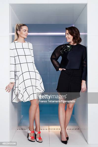 Virginie CourtinClarins and Prisca CourtinClarins are photographed for for Madame Figaro on July 9 2014 in Paris France Virginie Dress ring and...