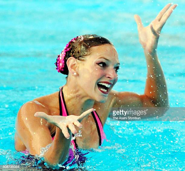 Virginie Dedieu of France competes in the Synchronized Swimming Solo Final during day six of the FINA World Championships at the Parc JeanDrapeau on...