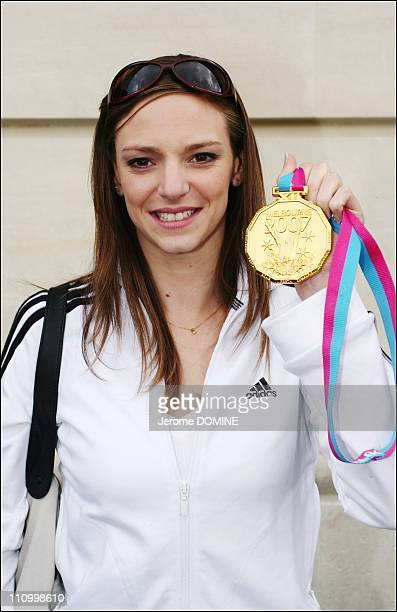Virginie Dedieu the third time of the world champion in synchronized swimming had an autograph session in Paris France on March 28th 2007
