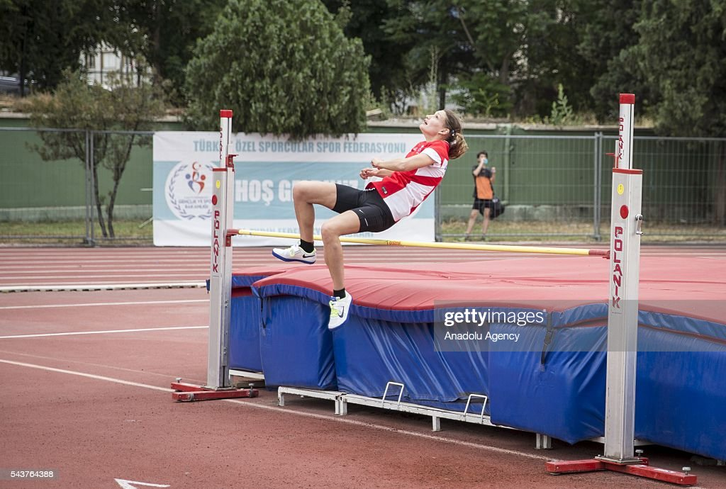 Virginie Dreux of France competes in the Women's Heptathlon high jump during the INAS European Athletics Championships at the 19 Mayis Sports Complex Naili Moran Athletics Facilities in Ankara, Turkey on June 30, 2016.