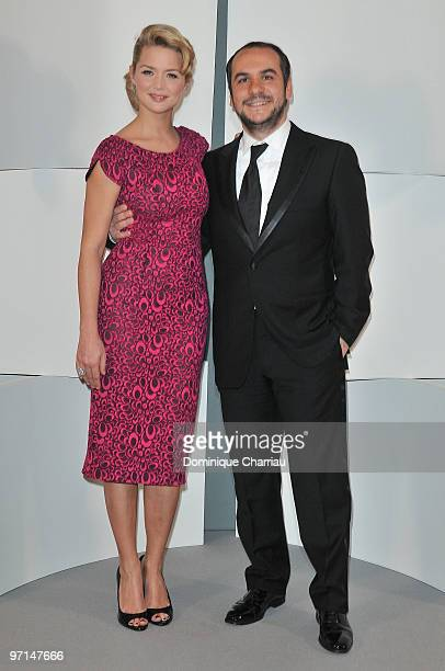 Virginie Efira and FrancoisXavier Demaison pose in Awards Room during 35th Cesar Film Awards at Theatre du Chatelet on February 27 2010 in Paris...