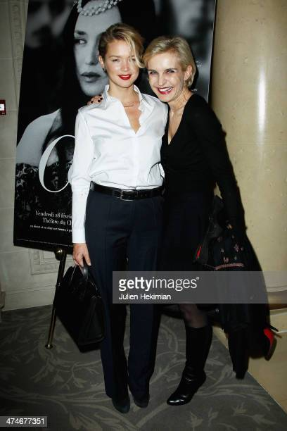 Virginie Efira and Melita Toscan du Plantier attend the Producer's Dinner Cesar Film Awards 2014 at Hotel George V on February 24 2014 in Paris France