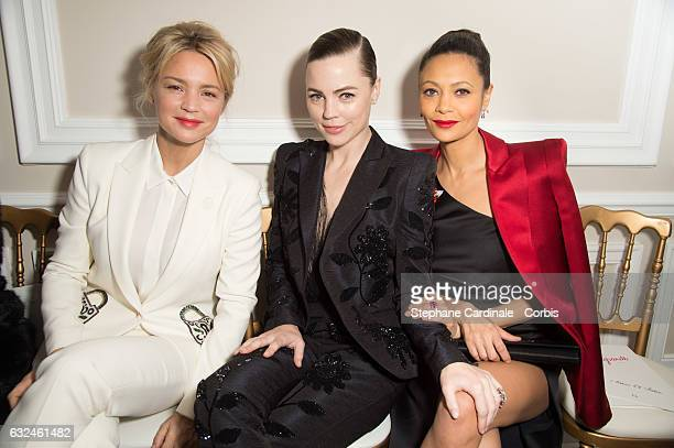 Virginie Efira Melissa George and Thandie Newton attend the Schiaparelli Haute Couture Spring Summer 2017 show as part of Paris Fashion Week on...