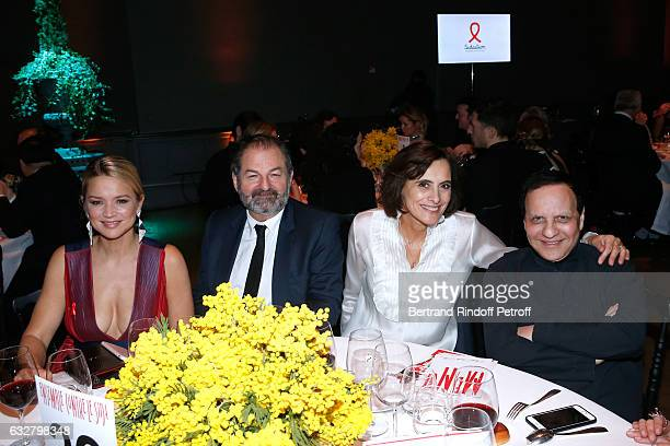 Virginie Efira President of Lagardere Active and CEO of 'Europe 1' Denis Olivennes Ines de La Fressange and Azzedine Alaia attend the Sidaction Gala...