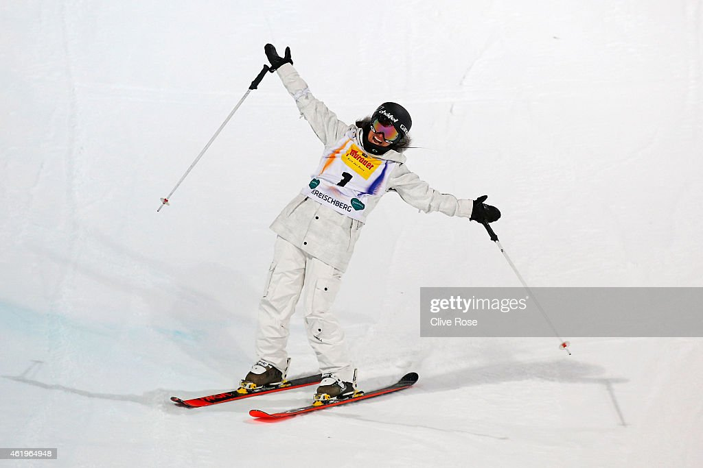 <a gi-track='captionPersonalityLinkClicked' href=/galleries/search?phrase=Virginie+Faivre&family=editorial&specificpeople=786060 ng-click='$event.stopPropagation()'>Virginie Faivre</a> of Switzerland celebrates after winning the gold in the Women's Ski Halfpipe Finals during the FIS Freestyle Ski and Snowboard World Championships 2015 on January 22, 2015 in Kreischberg, Austria