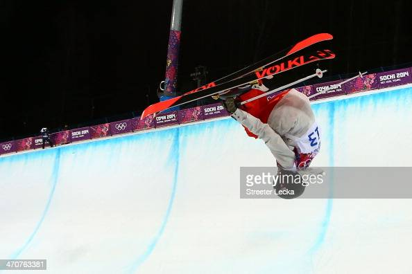 Virginie Faivre of Switzerland competes in the Freestyle Skiing Ladies' Ski Halfpipe Finals on day thirteen of the 2014 Winter Olympics at Rosa...