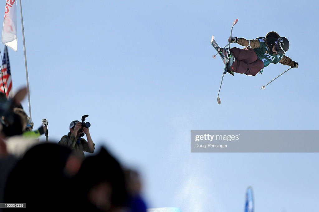 Virginie Faivre of Switzerland soars above spectators en route to finishing third in the ladies FIS Freestyle Ski Halfpipe World Cup during the Sprint U.S. Grand Prix at Park City Mountain on February 2, 2013 in Park City, Utah.