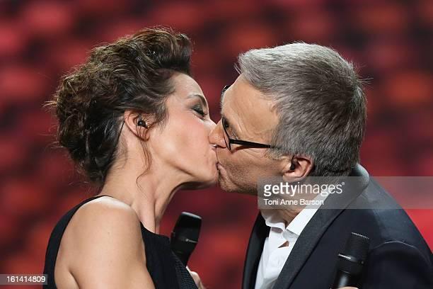 Virginie Guilhaume and Laurent Ruquier attend Les Victoires de La Musique 2013 at Zenith de Paris on February 8 2013 in Paris France