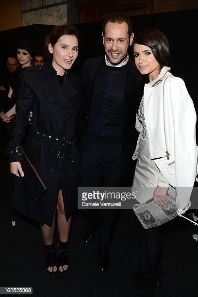 Virginie Ledoyen Designer Massimiliano Giornetti and Miroslava Duma attend the Salvatore Ferragamo fashion show as part of Milan Fashion Week...