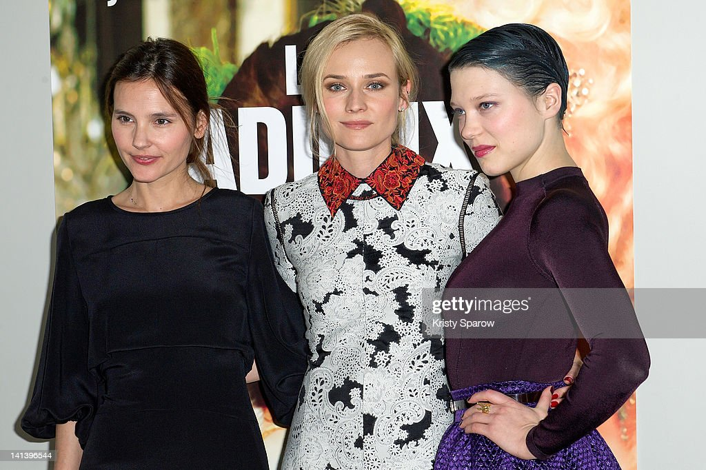 <a gi-track='captionPersonalityLinkClicked' href=/galleries/search?phrase=Virginie+Ledoyen&family=editorial&specificpeople=206954 ng-click='$event.stopPropagation()'>Virginie Ledoyen</a>, <a gi-track='captionPersonalityLinkClicked' href=/galleries/search?phrase=Diane+Kruger&family=editorial&specificpeople=202640 ng-click='$event.stopPropagation()'>Diane Kruger</a> and Lea Seydoux attend the 'Les Adieux A La Reine' premiere at La Reserve on March 15, 2012 in Paris, France.