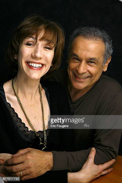 Virginie Lemoine and Francis Perrin on the set of TV show 'Les Grands Du Rire'