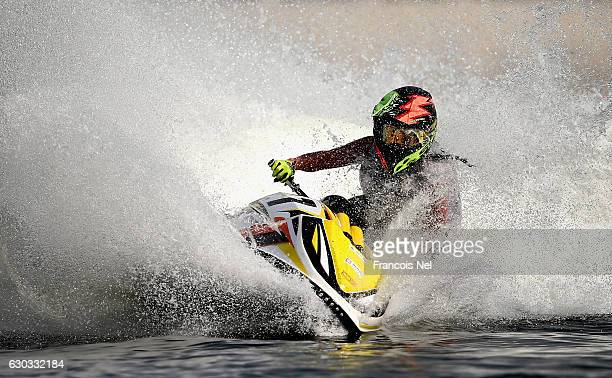 Virginie Morales of France practice ahead of the Aquabike Class Pro Circuit World Championships Grand Prix of Sharjah at Khalid Lagoon on December 21...