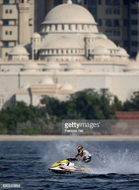 Virginie Morlaes of France race in the Ski Ladies GP1 final during the Aquabike Class Pro Circuit World Championships Grand Prix of Sharjah at Khalid...