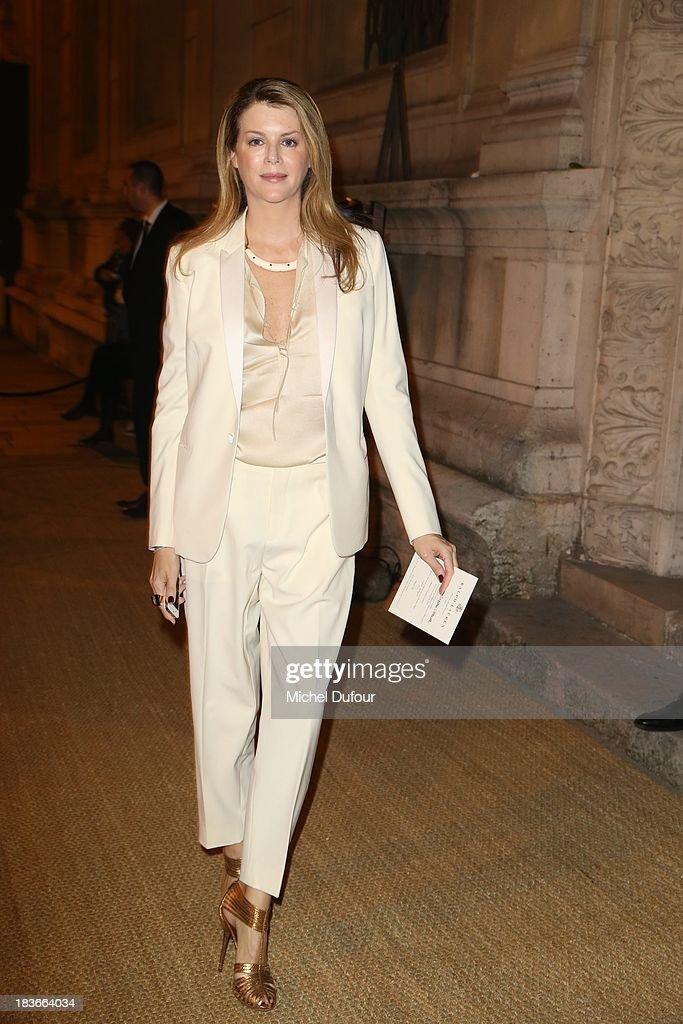 Virginie Mouzat arrives at a Ralph Lauren Collection Show and private dinner at Les Beaux-Arts de Paris on October 9, 2013 in Paris, France. On this occasion Ralph Lauren celebrates the restoration project and patron sponsorship of L'Ecole des Beaux-Arts.