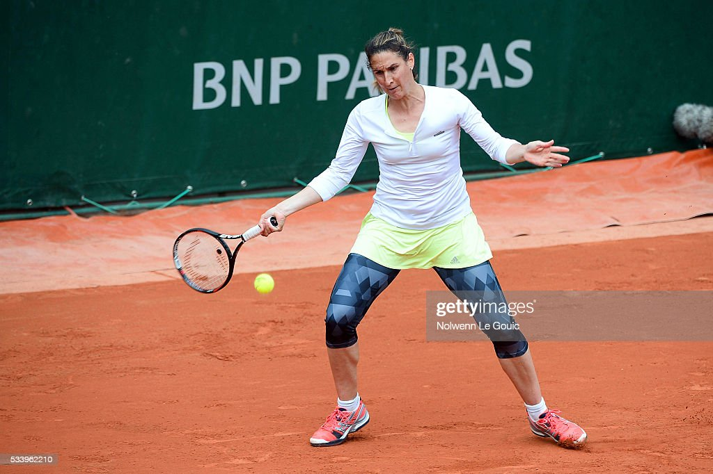 Virginie Razzano during the Women's Singles first round on day three of the French Open 2016 at Roland Garros on May 24, 2016 in Paris, France.