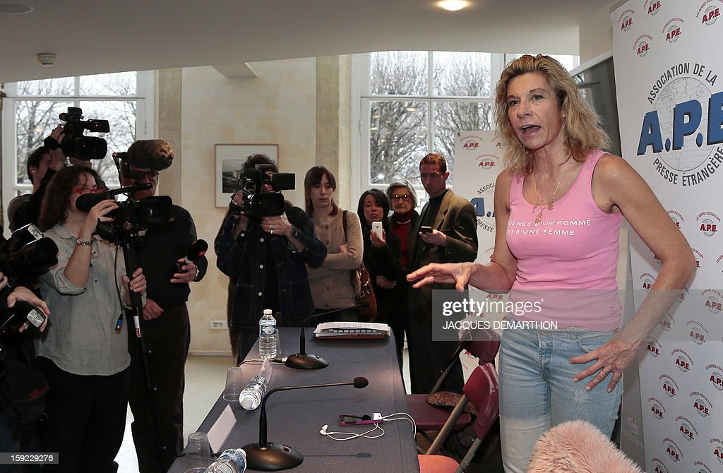 Virginie Tellene, known as 'Frigide Barjot', addresses journalists on January 10, 2013 in Paris to denounce 'threats' against former minister Georgina Dufoix, whose participation at a conference against gay marriage was cancelled.