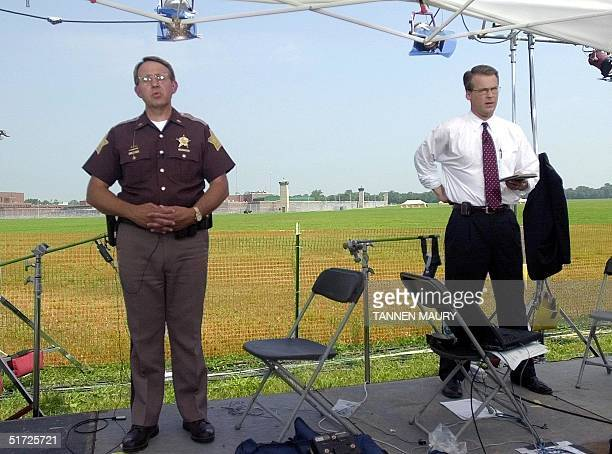 Virgo County Indiana Sheriff WR Harris is interviewed about what he saw in the death chamber while a reporter reports from the Federal Prison in...
