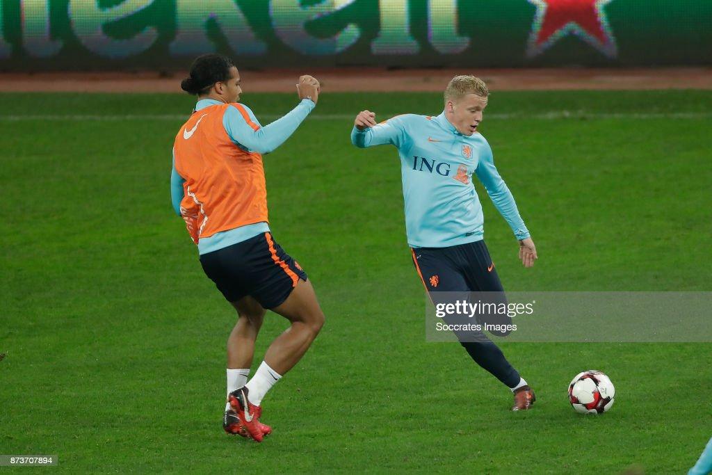 Virigl van Dijk of Holland, Donny van de Beek of Holland during the match between Training Holland in Bucharest at the Arena Nationala on November 13, 2017 in Bucharest Romania