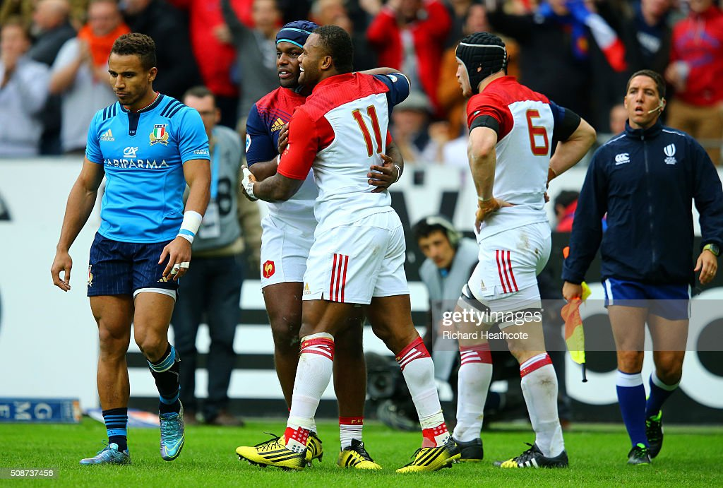 Virimi Vakatawa of France celebrates with team-mates after scoring his team's first try during the RBS Six Nations match between France and Italy at Stade de France on February 6, 2016 in Paris, France.