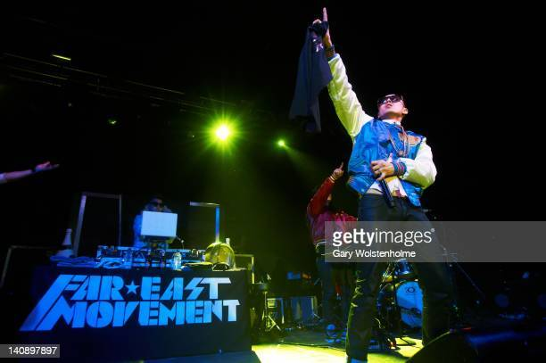 Virman and JSplif of Far East Movement performs on stage at Manchester Academy on March 7 2012 in Manchester United Kingdom