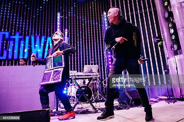 DJ Virman JSplif and Kev Nish of Far East Movement perform at Universal CityWalk's Free Summer 'Music Spotlight Series' at 5 Towers Outdoor Concert...