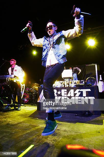 Virman JSplif and Prohgress of Far East Movement performs on stage at Manchester Academy on March 7 2012 in Manchester United Kingdom