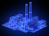 virtual blue factory. 3d wireframe