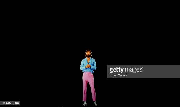 A virtual hologram of actor Jared Leto speaks onstage at the Warner Bros Pictures 'Blade Runner 2049' Presentation during ComicCon International 2017...