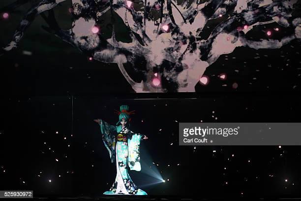 Virtual idol Hatsune Miku performs in a final dress rehearsal for the kabuki theatre show 'Hanakurabe Senbonzakura' on April 28 2016 in Tokyo Japan...