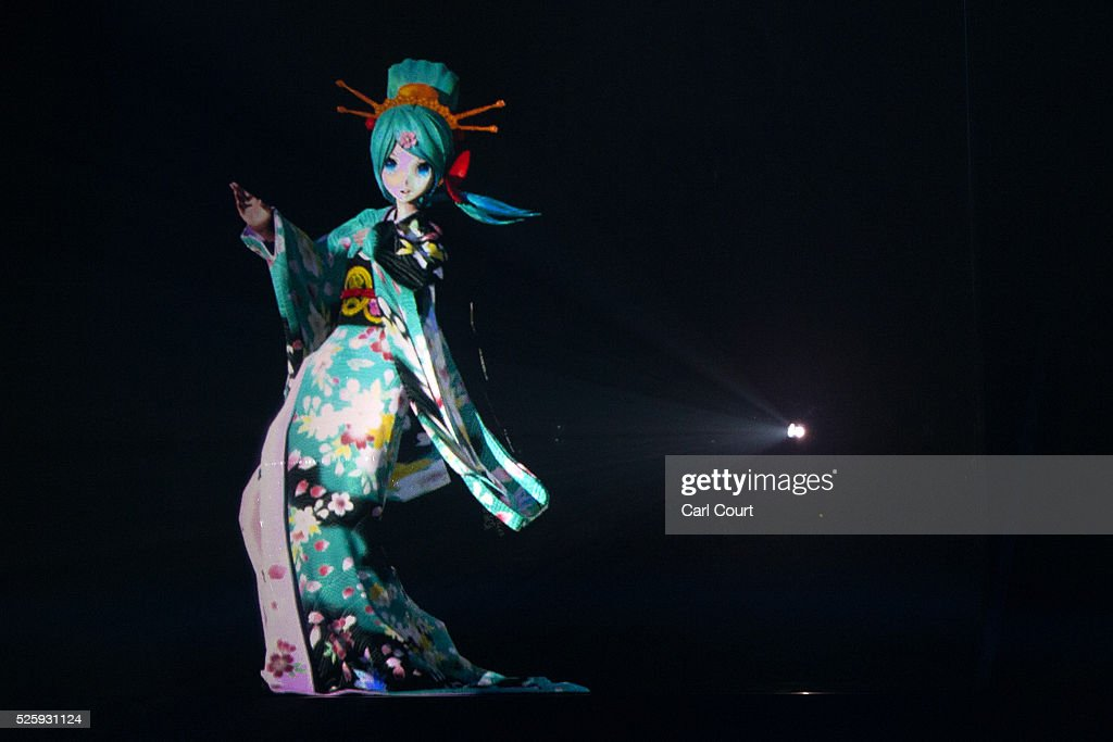 Virtual idol Hatsune Miku performs in the kabuki theatre show 'Hanakurabe Senbonzakura' on April 29, 2016 in Tokyo, Japan. The latest digital technology kabuki theatre piece 'Hanakurabe Senbonzakura' is part of the Niconico Chokaigi festival in Tokyo. The festival was organized by video website Niconico, combining Kabuki, a traditional Japanese theater art and cutting edge animation technology, co-starring kabuki superstar Shidou Nakamura and the popular virtual idol Hatsune Miku.