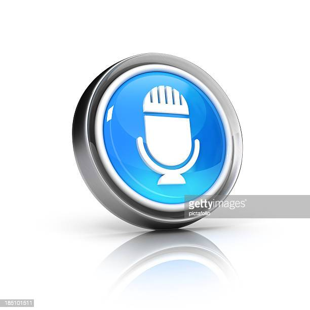 Virtual image of 3D button with microphone icon