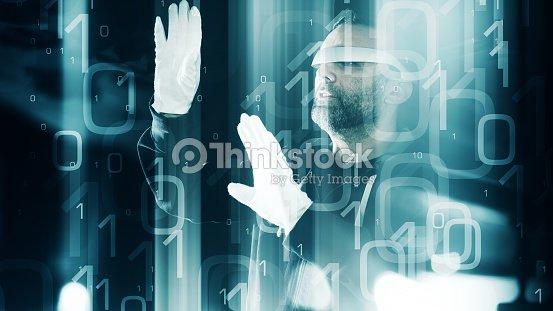 440499f854c9 Virtual Reality Glasses Concept Futuristic Hacker In Gloves Binary ...