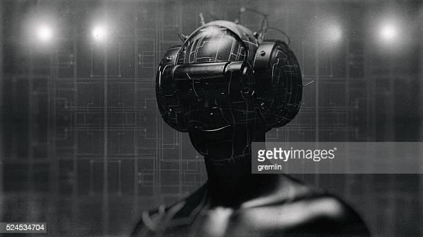 Occhiali di realtà virtuale e futuristico uomo