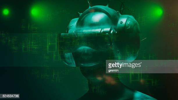 Virtuelle Realität Brille und futuristische Mann