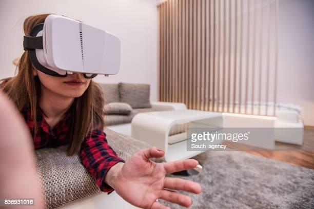 Virtual reality on sofa