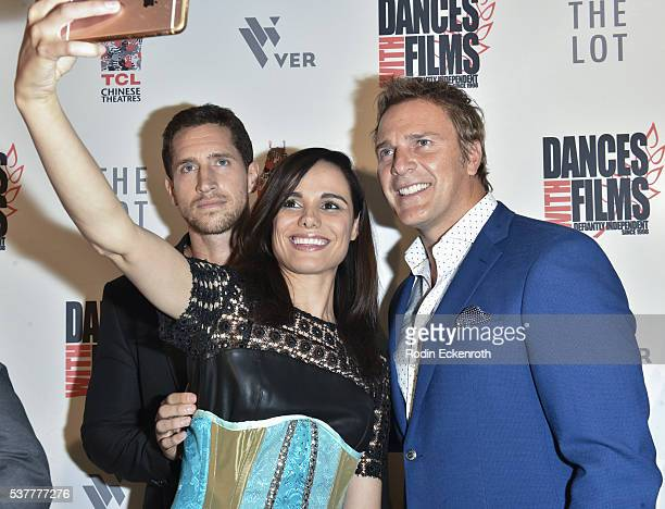 'Virtual Revolution' Emilien de Falco Melissa Mars and Mike Dopud take selfie during the 19th annual Dances with Films Festival Arrivals at Loews...
