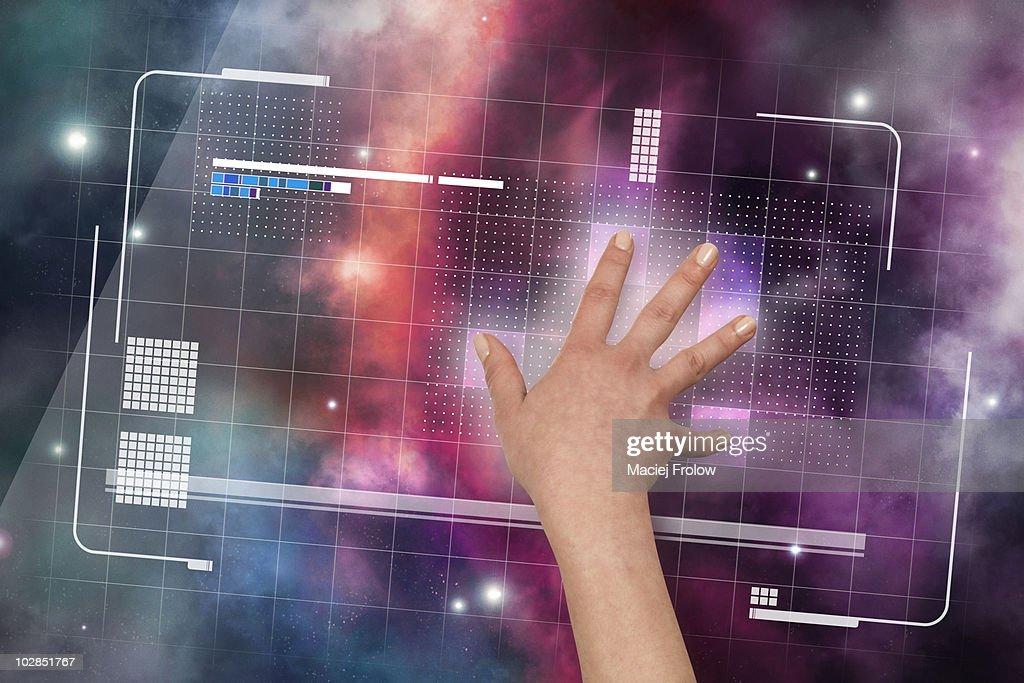 Virtual touch screen interface : Stock Photo