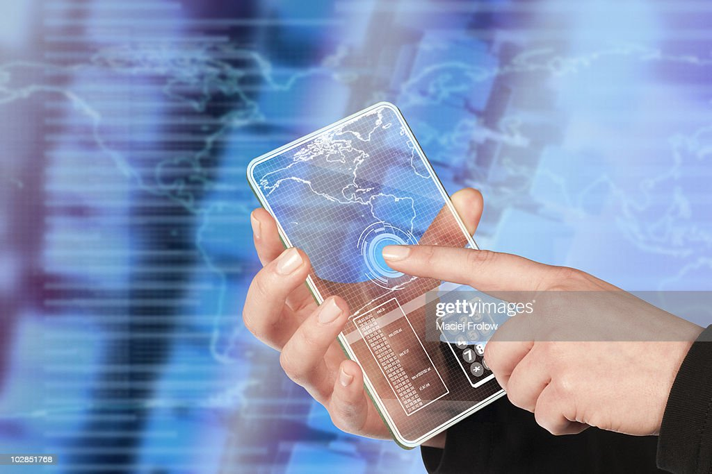 Virtual touch screen interface : Stock Photo