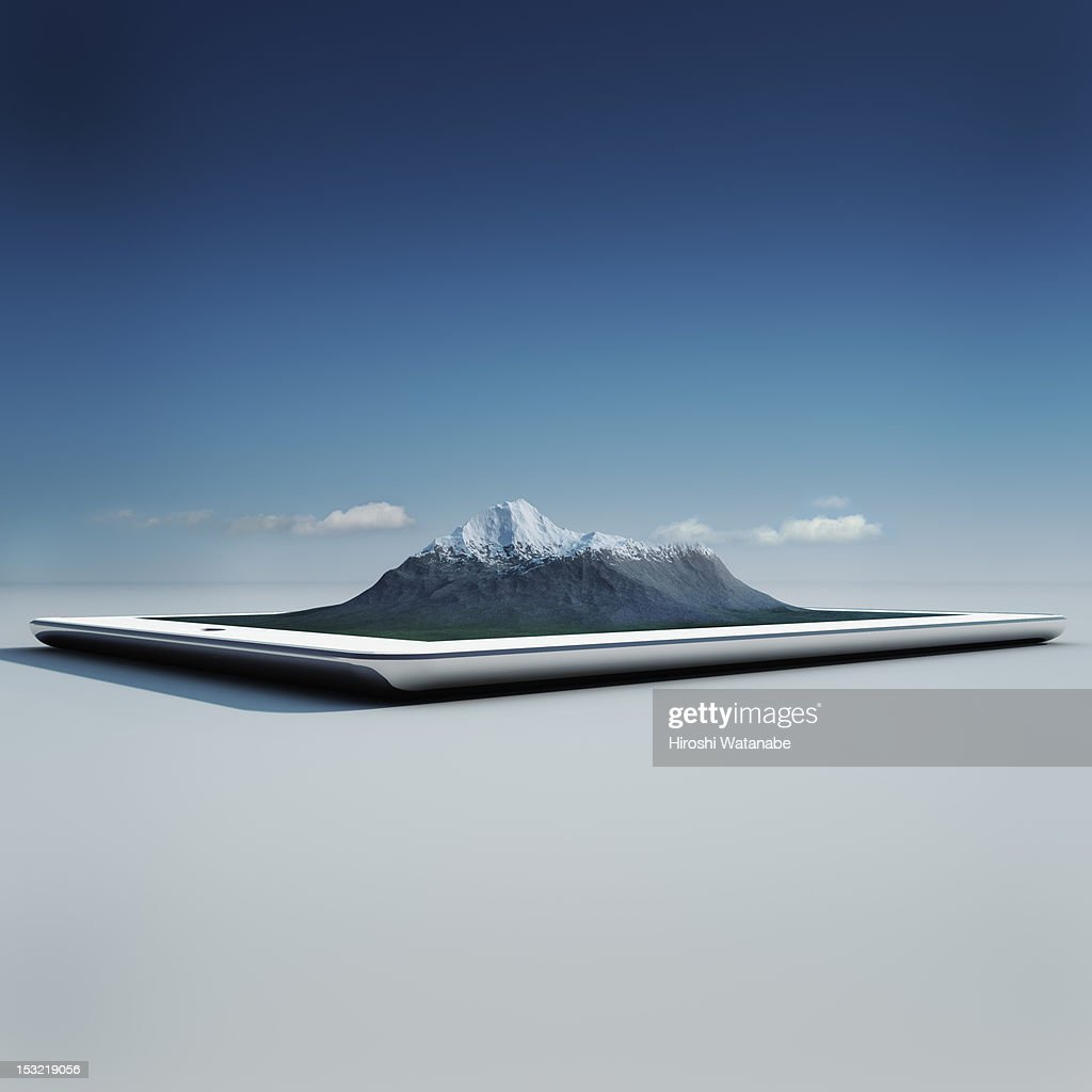 Virtual travel on a tablet PC : Stock Photo