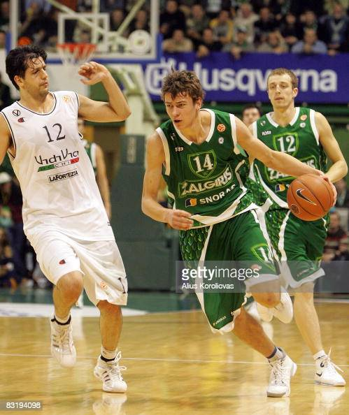 Virtus Vidivic Guilherme Giovannoni of Zalgiris Donatas Motiejunas in action during the Euroleague Basketball Game 8 between Zalgiris Kaunas v Virtus...