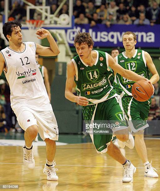 Virtus Vidivic Guilherme Giovannoni of Zalgiris Donatas Motiejunas in action during the Euroleague Basketball Game 8 between Zalgiris Kaunas v Virtus...