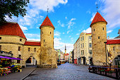 Twin towers of Viru Gate in the old town of Tallinn, Estonia