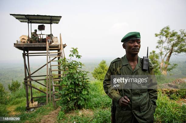 A Virunga National Park ranger from the Congolese Wildlife Authority stands at an observation post at Rumangabo at the edge of the Virunga Park in...