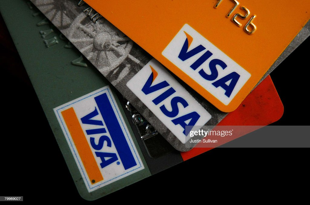 Visa credit cards are arranged on a desk February 25, 2008 in San Francisco, California. Visa Inc. is hoping that its initial public offering could raise up to $19 billion and becoming the largest IPO in U.S. history.