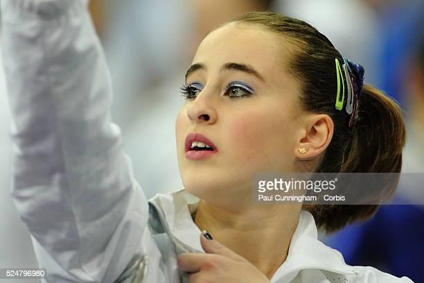 Visa Federation of International Gymnastics Carlotta Ferlito of Italy happy after qualifying to the London Olympics Women's Artistic Olympic...