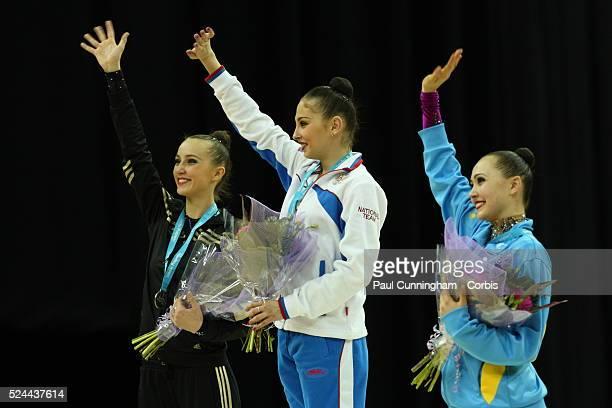 Visa Federation of International Gymnastics Daria Kondakova of Russia collects the Gold Medal Ganna Rizatdinova of Uzbekistan wins the second place...