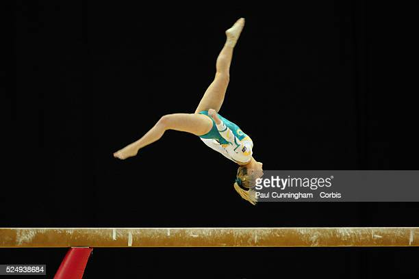 Visa Federation of International Gymnastics Emily Little of Australia performs on the Beam during the Women's Artistic Olympic qualification event at...