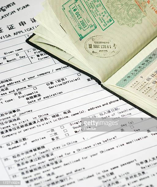 visa form and passport